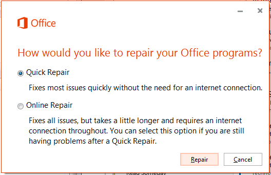 Office365 Quick Repair